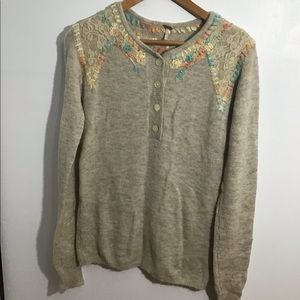 Free People Wool/Lace Sweater Small Embroidered